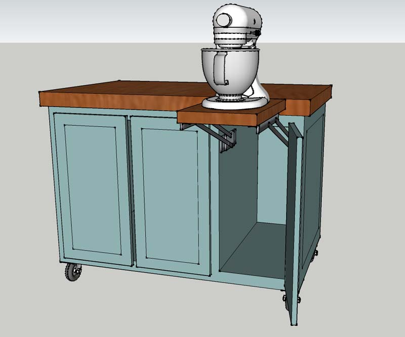 This kitchen island cart was built to match a kitchen for a local