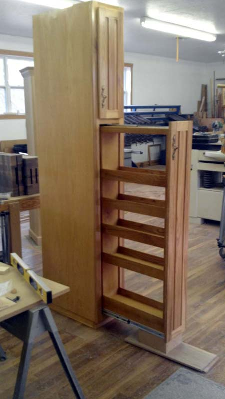 Fivebraids Custom Woodworking Pullout Spice Cabinet