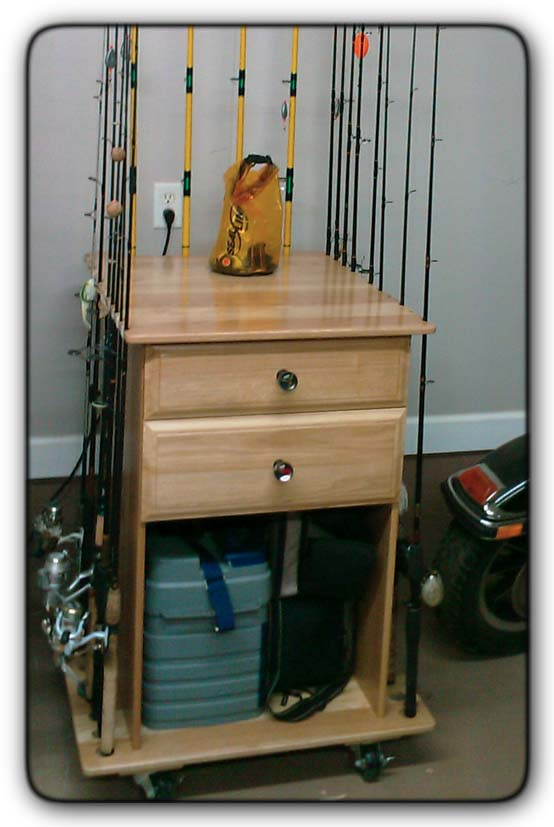 Fivebraids custom woodworking gallery for Fishing rod storage cabinet
