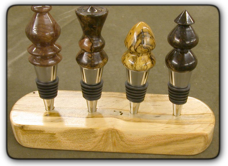 wood turned bottle stoppers