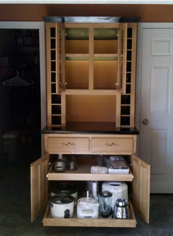 Fivebraids Custom Woodworking Liquor Wine Hutch